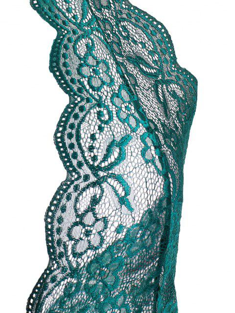 chic Halter Lace Cutout Crotchless Teddy - GREEN 2XL Mobile