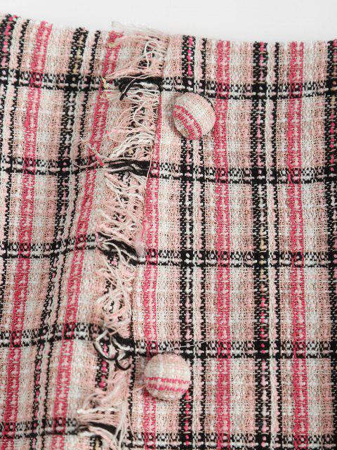 latest ZAFUL Plaid Fringed Tweed Mock Button Skirt - LIGHT PINK L Mobile