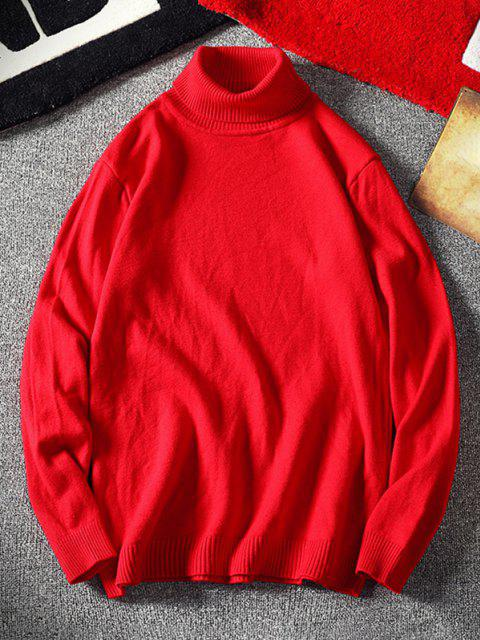 lady Turtleneck Plain Pullover Sweater - RED M Mobile