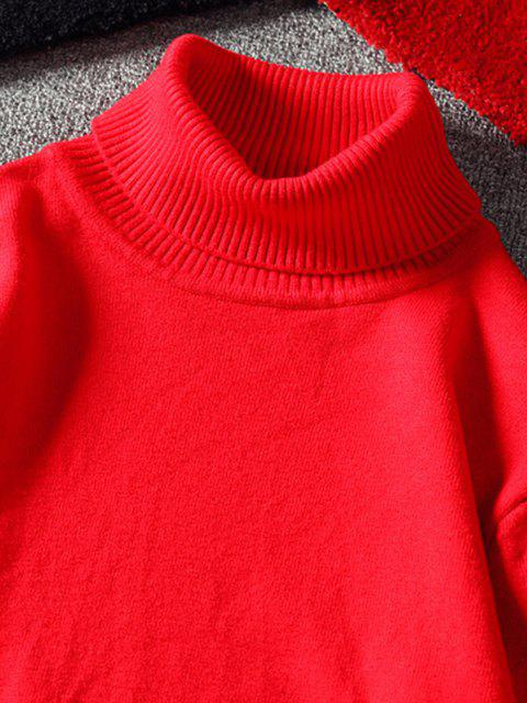 best Turtleneck Plain Pullover Sweater - RED S Mobile
