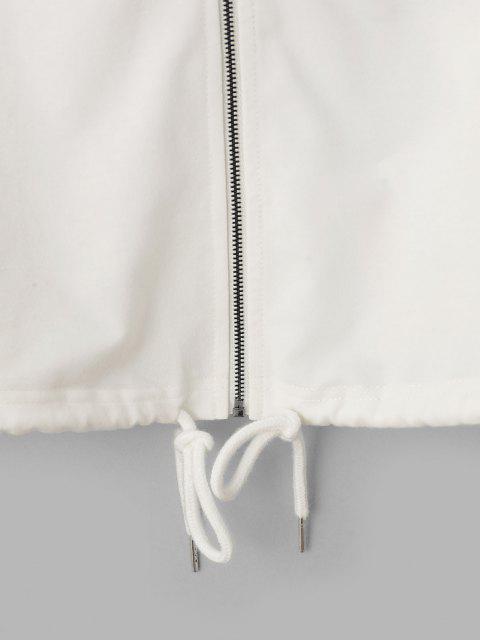 latest ZAFUL Zip Color Blocking Drawstring Hoodie - WHITE L Mobile