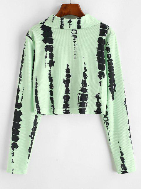 unique Ribbed Tie Dye Zip Up Cropped Jacket - GREEN L Mobile