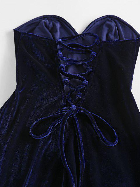 ZAFUL Robe en Velours sans Bretelles à Lacets - Bleu profond L Mobile