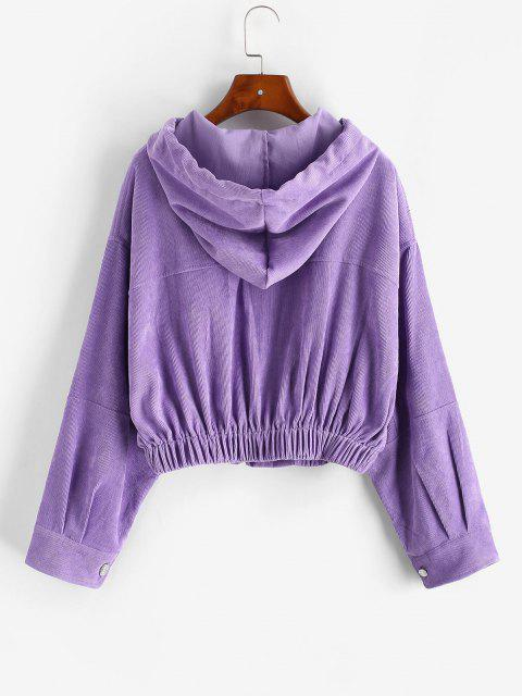 outfits Zip Up Hooded Pockets Corduroy Jacket - PURPLE S Mobile