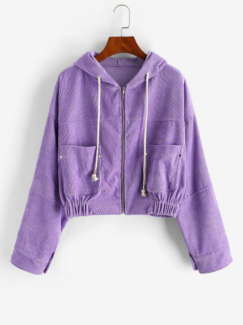 Zip Up Hooded Pockets Corduroy Jacket - أرجواني S Mobile
