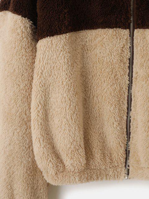 ZAFUL Veste Bicolore Zippée en Fausse Fourrure - Bronze XL Mobile