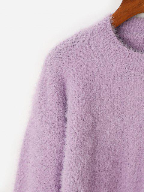 Pull Fourré en Tricot Goutte Epaule à Col Rond - Violet clair Taille Unique Mobile