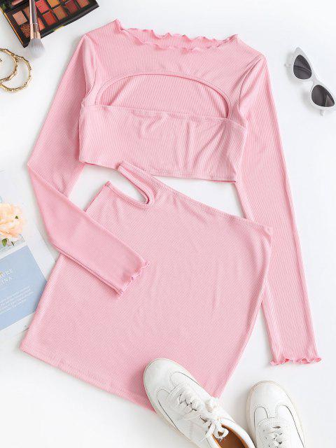 trendy Open Bust Cutout Ribbed Two Piece Skirt Set - LIGHT PINK L Mobile