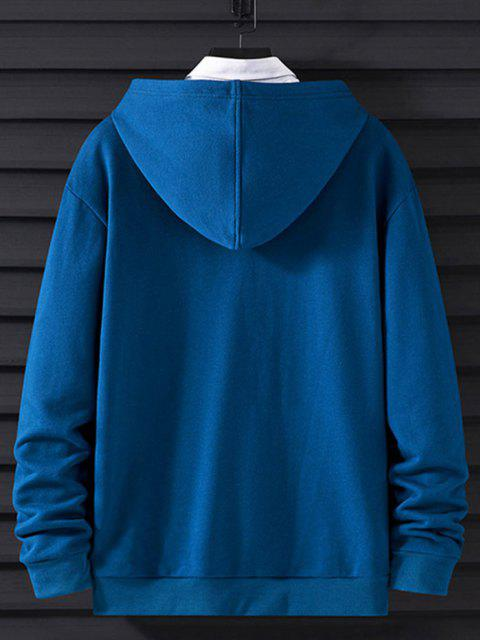 buy Letter Print Reflective Panel Drop Shoulder Casual Hoodie - COBALT BLUE XS Mobile