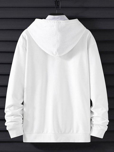 trendy Letter Print Reflective Panel Drop Shoulder Casual Hoodie - WHITE M Mobile
