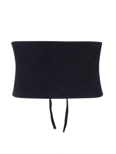 latest Solid Lace Up Shapewear Corset Belt - BLACK M Mobile