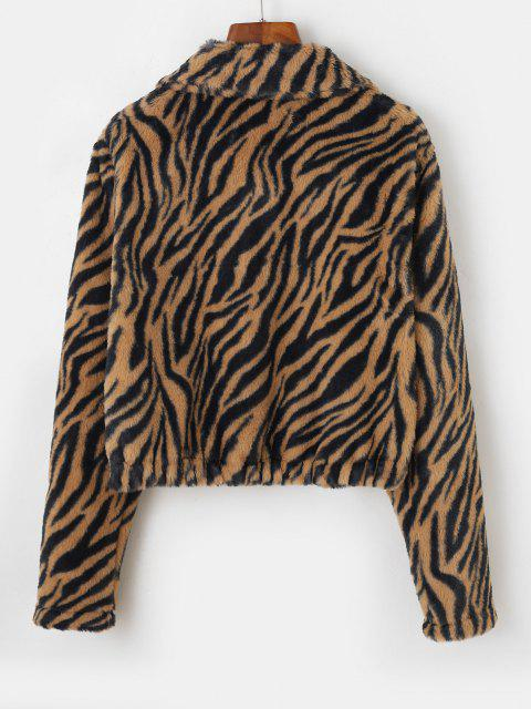 ZAFUL Tiger Striped Mock Pockets Cropped Faux Fur Jacket - أسمر M Mobile