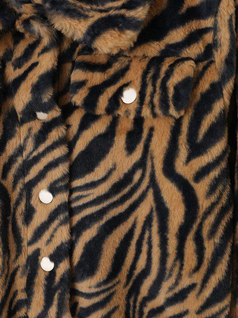 buy ZAFUL Tiger Striped Mock Pockets Cropped Faux Fur Jacket - TAN M Mobile