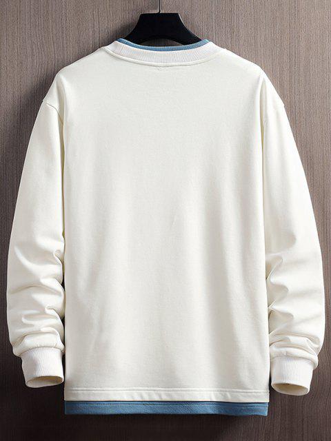 Buchstabe Druck Farbblock Sweatshirt mit Abgerundetem Saum - Weiß XS Mobile