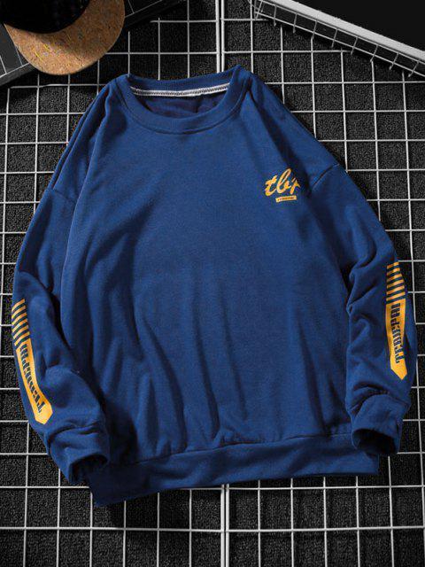 fashion Letter Stripes Pattern Crew Neck Sweatshirt - BLUE 2XL Mobile