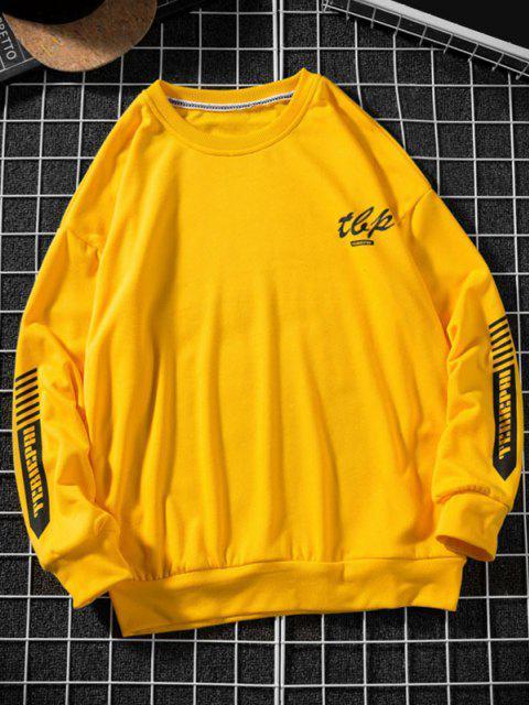 unique Letter Stripes Pattern Crew Neck Sweatshirt - YELLOW XL Mobile