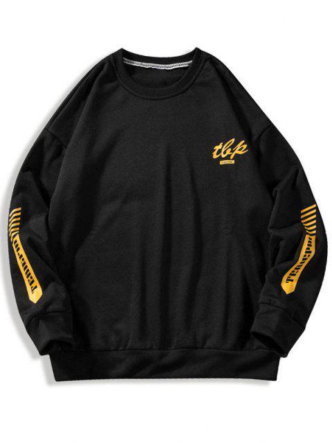fashion Letter Stripes Pattern Crew Neck Sweatshirt - BLACK XL Mobile