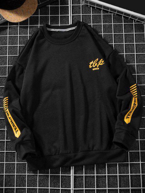 women Letter Stripes Pattern Crew Neck Sweatshirt - BLACK 3XL Mobile