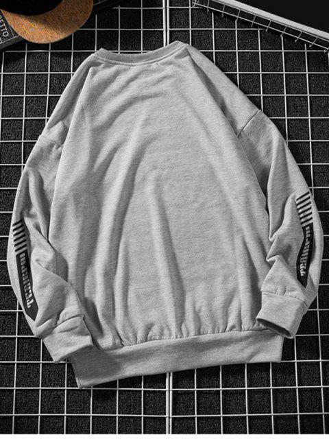 shop Letter Stripes Pattern Crew Neck Sweatshirt - LIGHT GRAY 3XL Mobile