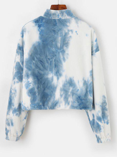 ZAFUL Tie Dye Drawstring Hem Cropped Fleece Sweatshirt - ضوء السماء الزرقاء S Mobile