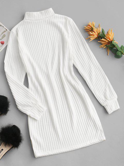 Rollkragen Rippen Strick Tailliertes Kleid - Weiß S Mobile