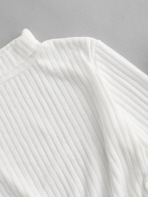 Rollkragen Rippen Strick Tailliertes Kleid - Weiß L Mobile