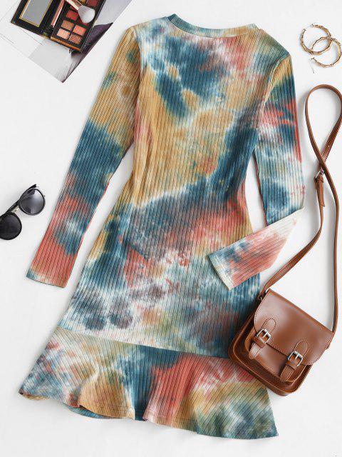 women Tie Dye Cinched Flounce Ribbed Tee Dress - MULTI M Mobile