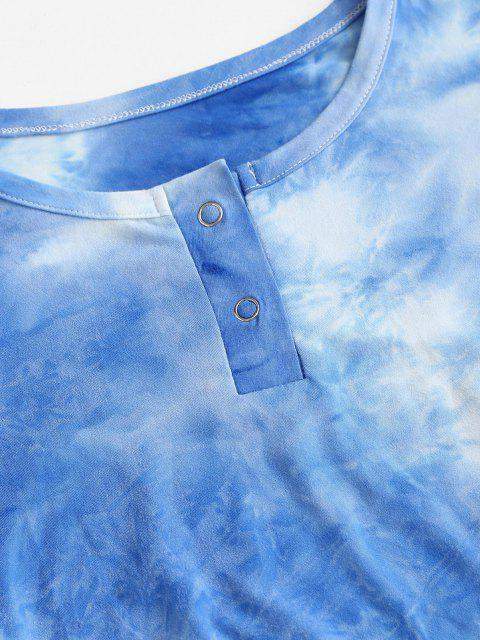 Maglietta Increspata di Tie-Dye con Bottoni Automatici - Blu L Mobile