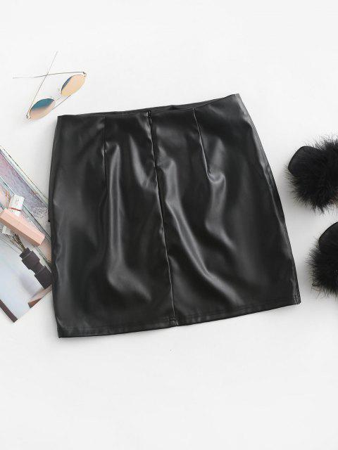 ZAFUL Faux Leather Asymmetric Tulip Mini Skirt - أسود S Mobile
