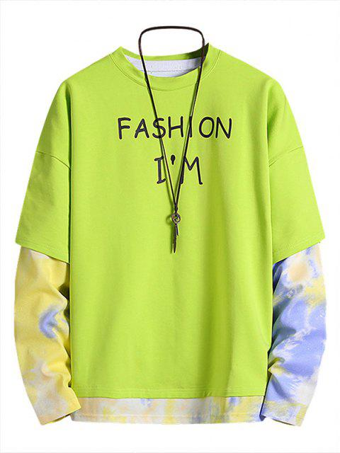 fashion Letter Print Tie Dye Faux Twinset Sweatshirt - GREEN XL Mobile