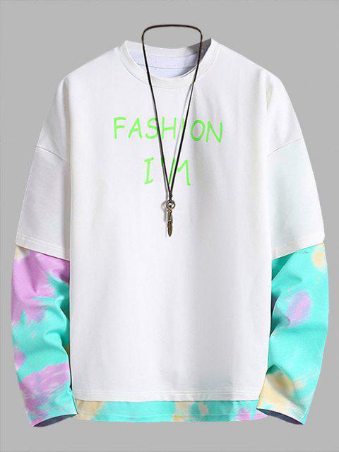 chic Letter Print Tie Dye Faux Twinset Sweatshirt - WHITE XL Mobile