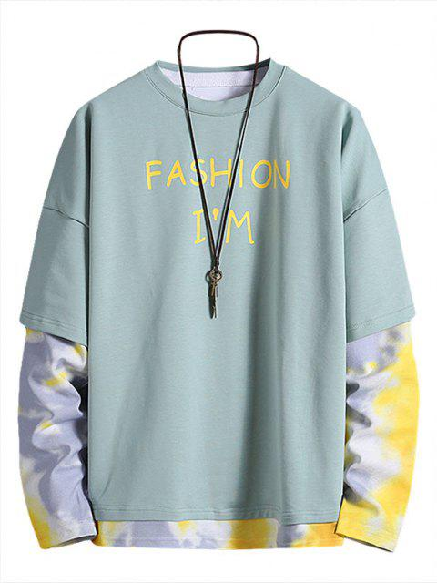online Letter Print Tie Dye Faux Twinset Sweatshirt - BLUE XL Mobile