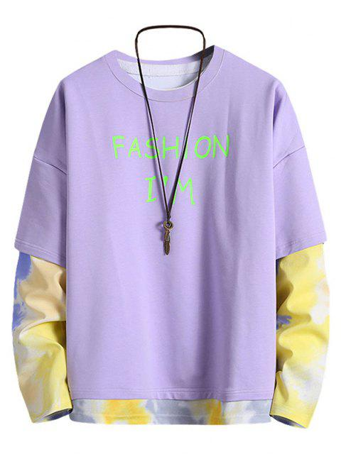 hot Letter Print Tie Dye Faux Twinset Sweatshirt - PURPLE XL Mobile