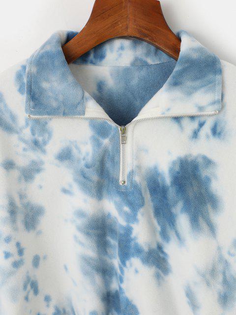 sale ZAFUL Tie Dye Elastic Waist Cropped Fleece Sweatshirt - LIGHT SKY BLUE L Mobile