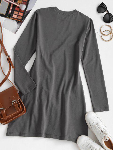 Vestido de Camiseta con Manga Larga con Escote Pronunciado en Espalda - Gris XL Mobile