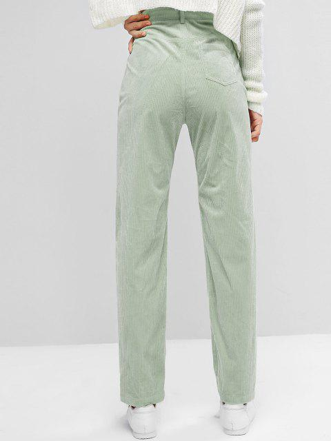 new ZAFUL High Waisted Corduroy Pants - LIGHT GREEN M Mobile