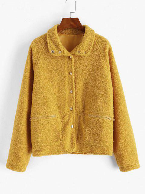 Snap Button Zip Pocket Raglan Sleeve Teddy Coat - الأصفر S Mobile