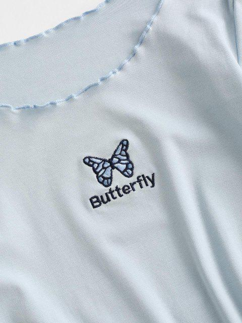 fancy Lettuce Trim Butterfly Embroidered Bodycon Jersey Dress - POWDER BLUE S Mobile