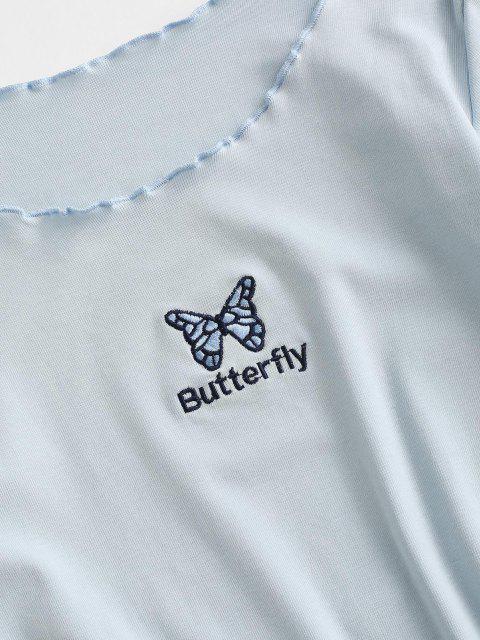 Abito Aderente Ricamato Farfalla con Taglio Ondulato - Blu Polvere S Mobile