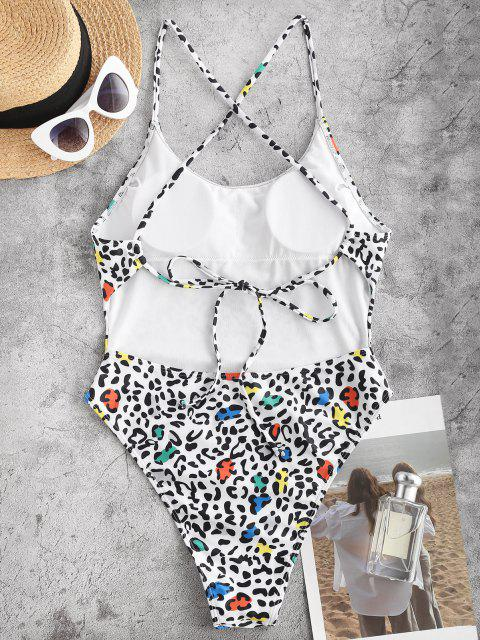 ZAFUL Animal Print Crisscross High Leg One-piece Swimsuit - أبيض L Mobile