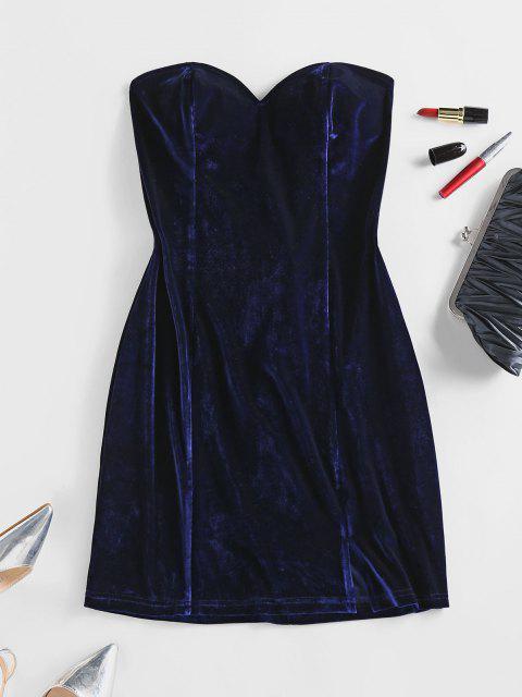ZAFUL Trägerloses Kleid mit Schnürung aus Samt - Tiefes Blau M Mobile