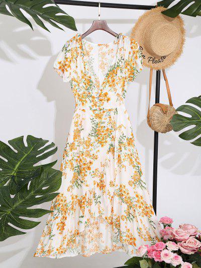 Floral Ruffles Overlap Midi Dress - White L