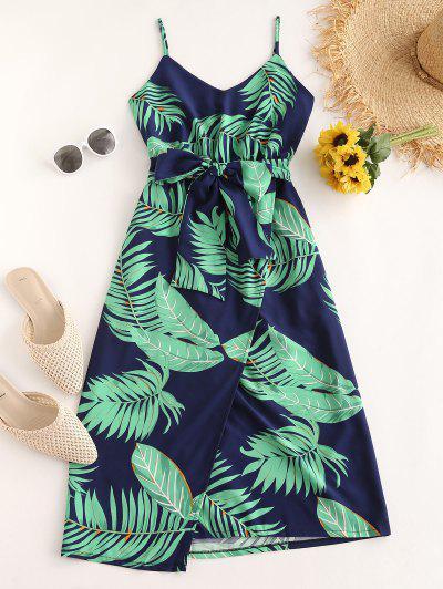 Tropical Palm Leaf Belt Cami Dress - Green S