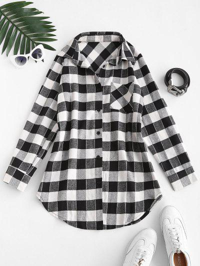 Plaid Flannel Chest Pocket Shirt Dress - Black M