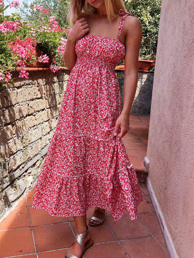Tiny Floral Smocked Back Cami Dress - Red L