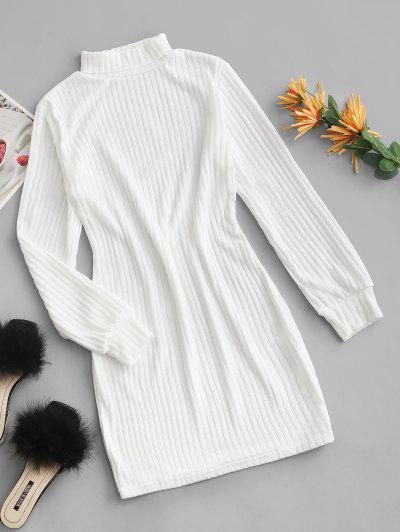 Rollkragen Rippen Strick Tailliertes Kleid - Weiß L