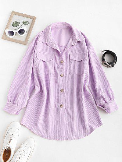 Corduroy Button Up Pocket Tunic Dress - Light Purple S
