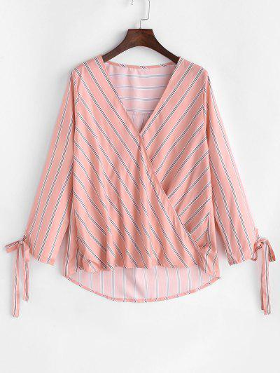 Striped Tied Cuff Curved Hem Blouse - Light Pink M
