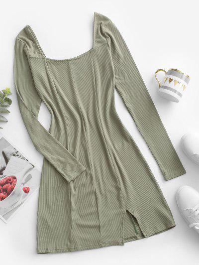 Square Collar Rib-knit Long Sleeve Dress - Light Green S