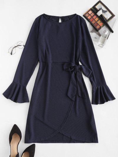 Tie Waist Flare Sleeve Ribbed Ruffles Dress - Deep Blue L